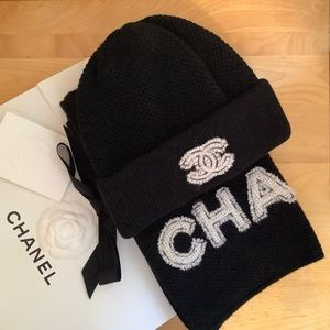 Chanel Beanie and Scarf Set
